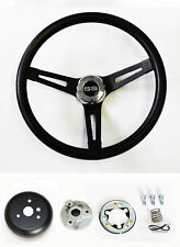 "Chevelle Nova Camaro Impala Black on Black Spokes Steering Wheel 13 1/2"" SS Cap"