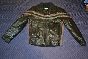 VTG Polaris Winterwear Leather Jacket Black Zip Out Lining Snowmobile MED Korea