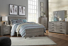 NEW 5 piece Modern Rustic Gray Bedroom Set Furniture w/ King Size Panel Bed IA21