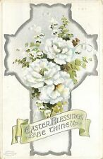 BB London Easter~White Carnations~Lily of Valley~Ornate Silver Filigree Cross