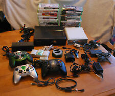 XBOX 360 W/HD DVD Player Adapters XBOX Controllers Batteries Charger 30 games +