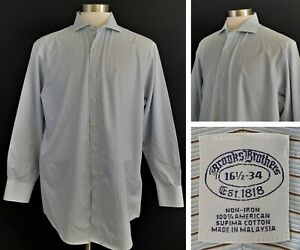 Brooks Brothers - Men's L/S Button Front Dress Shirt - 16.5 34 - Striped - Flaws