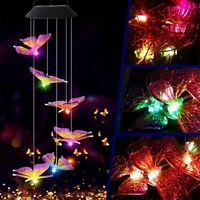 Solar Power Wind Chime Light Color Change Butterfly Hanging Lamp Garden Decor ON