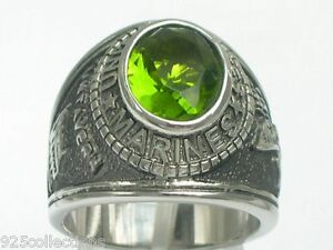 United States Marine Military August Peridot Stainless Steel Men Ring Size 12