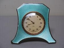 Antique ART DECO 8-Day Travel Clock, Sterling Silver & Guilloche ENAMEL Case
