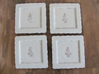 ARTEflorum Boxwood Cream -Embossed Topiary-Set of 4 Square Salad Plates -2 Avail