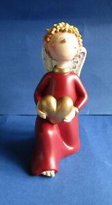 Engel - Junge Valentino kniend rot mit Herz 13 cm Neu von Gilde Handwerk