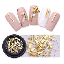 3D Nail Art Decoration Nail Studs Gold Metal Alloy Bee Rod Beads Rhinestone Tips