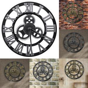 "Large Wall Clock vintage Roman Numerals Wheel Gear Art Silent Non Ticking 12"" 16"