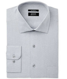New Alfani Performance Regular Fit Silver Zig Zag Dress Shirt 17 - 17 1/2 36-37