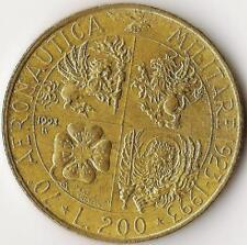 ITALIA, 200 LIRA, 1993-R, KM155, 70th AV. AVIAZIONE MILITARE, alluminio-Bronzo