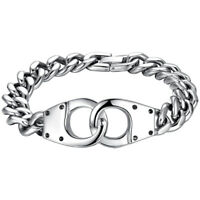 Men's 316L Surgical Quality Stainless Steel Handcuffs Design Curb Chain Bracelet