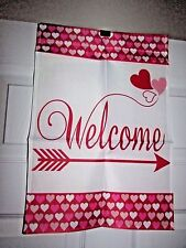Welcome Valentine's Heart and Arrow Small Garden Flag White W/ Heart Border