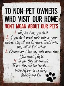 Rules to Non Pet Owners Metal Sign Wall Plaque Dog Cat Lover Steel Poster Gift