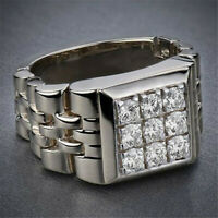 Handmade Men's 925 Silver White Topaz Micro Pave Ring Wedding Jewelry 7-12