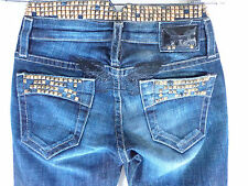 Robin's jeans straight dark  blue black wings studs waistline  SZ 24 New