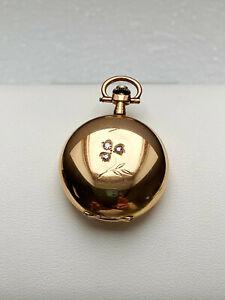 zauberhafte antike Damentaschenuhr mit Brillanten - 14 kt Gold