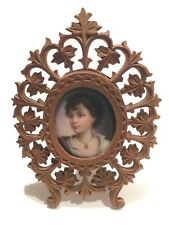 New listing Antique Hand Painted On Porcelain Portrait In A Carved Frame