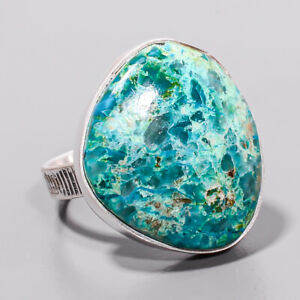 Chrysocolla - Africa Gemstone Handmade 925 Sterling Silver Jewelry Ring s.9 T921