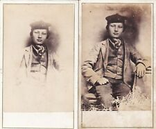 2 ANTIQUE CDV PHOTOS - YOUTH. FOREIGN? NO STUDIO