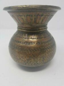 Vintage Old Brass Handcrafted Engraved Ganga jamana Pot/Lota Decorative NH5335