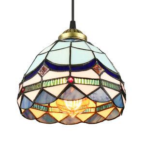 Classic Blue Tiffany Style Mini Pendant Light Kitchen Bar Hanging Ceiling Lamp