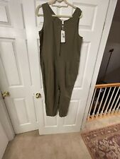 NWT EILEEN FISHER $228 Women's Organic Cotton Crepe Jumpsuit Size M Olive