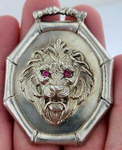 VINTAGE FIERCE LION HEAD 925 STERLING SILVER PENDANT ORNATE ARTIST SIGNED 1987