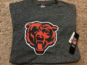 NFL Majestic Chicago Bears Football Team Logo T- Shirt Gray Mens M RT$32 NWT D11