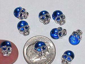 2 Pc Miniature dollhouse tiny Flatbacks crystal Halloween Skull findings 6x10mm