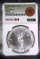 2019Mo Mexico 1 Oz Silver Libertad | NGC MS70 Early Releases | Aztec Calendar Lb