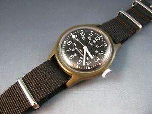 "Vintage Timex ""MacGyver"" Military Field Watch 24 HR Camper Dark Green Mechanical"