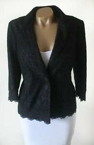 Per Una M&S Blazer Jacket 12 BNWT Black Purple Lace Overlay Tailored & Lined