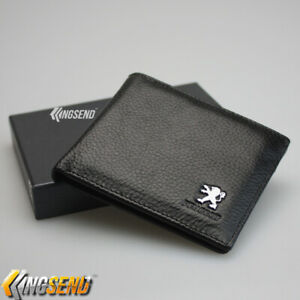 Peugeot Black Bifold Wallet Genuine Leather with 6 Credit Card ID Holder Men Car