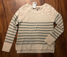 Girls Nwt 14 L Pink Republic Off-White Moss Green Striped Knit sweater Lace New