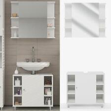 VICCO Badmöbel Set FYNN Weiß - Bad Spiegel Kommode Unterschrank Badschrank