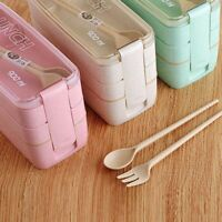900ml 3 Layer Spoon Dinnerware Lunch Box Bento Box Food Storage Container lskn