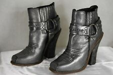 BARBARA BUI  SKY HIGH HEEL RIDING BIKER COWBOY METALLIC GRAY BOOTS EU 39 US 9