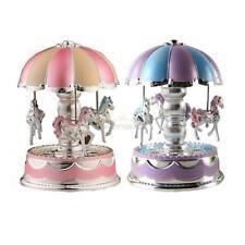 HOT! Kids Girl Boy LED Light Horse Carousel Music Box Toy Clockwork Musical #EAL