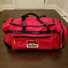Vintage 1990s Marlboro Gear Red XL Rolling Duffle Bag w/ Strap 30x16x16