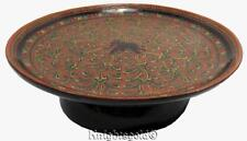 Cake Plate Elephant Handpainted Pedestal Lacquer Wood 70s Vintage Indian 20 cm