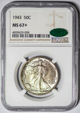 1943 Walking Liberty NGC MS67+ *CAC-Verified* Silver Half Dollar, Superb Gem+!