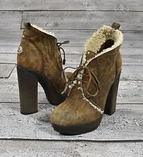 Moncler Braunes Leder Shearling Pelz St Germain Plateau Stiefel Schuhe 8 Neu