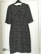 "L K BENNETT ""YOLANDA"" SHIFT DRESS - BLACK/WHITE POLKA DOT/SPOTS - UK8"