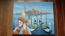 Grand tableau Venise Carnaval personnage masqué San Giorgio Maggiore gondoles.