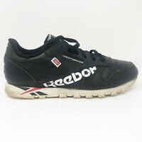 Reebok Mens Classic Leather DV5020 Black Running Shoes Lace Up Low Top Size 7