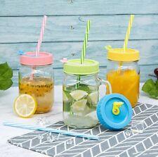 1Glass Mason Jar Mugs 16oz With Handle Straw Plastic Lid with Straw hole Stopper