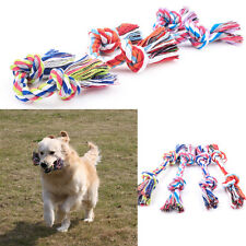 Chew Bite Toy Knot Tough Puppy Dog Pet Tug War Play Braided Weave Cotton Rope