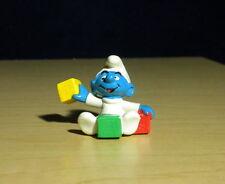 Smurfs Baby Smurf Playing Toy Blocks Figure Rare Vintage 1984 PVC Figurine 20214