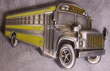 Pewter Belt Buckle Vehicle Yellow Schoolbus School Bus NEW